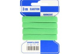 10mm breites Gummiband in gür auf Pappkarte