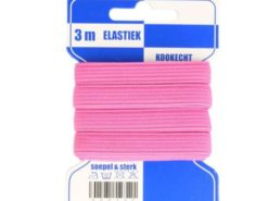 pinkfarbene Gummilitze auf bleuer Pappkarte