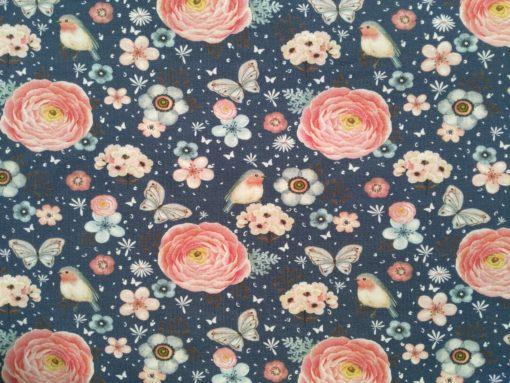 Baumwolljersey mit Blumen Rotkehlchen