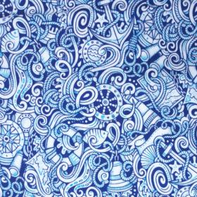 Stoff in blau und weiß, Anker, Steuerräder, Ferngläser und viele weitere Dinge sind in einander verschlungen