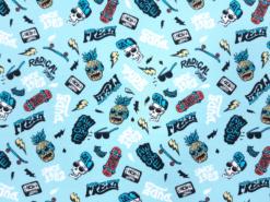 Stoff mit Skateboards, Jersey mit Totenköpfen