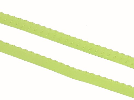 Ziergummi mit bestickter Bogenkante hellgrün Detail