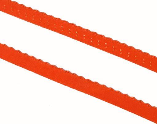 elastisches Einfassband mit Wellenkante orange Detail
