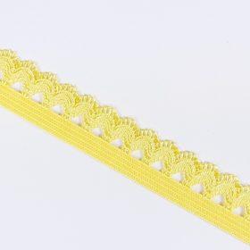 Gummiband mit Picot Spitze gelb Detail