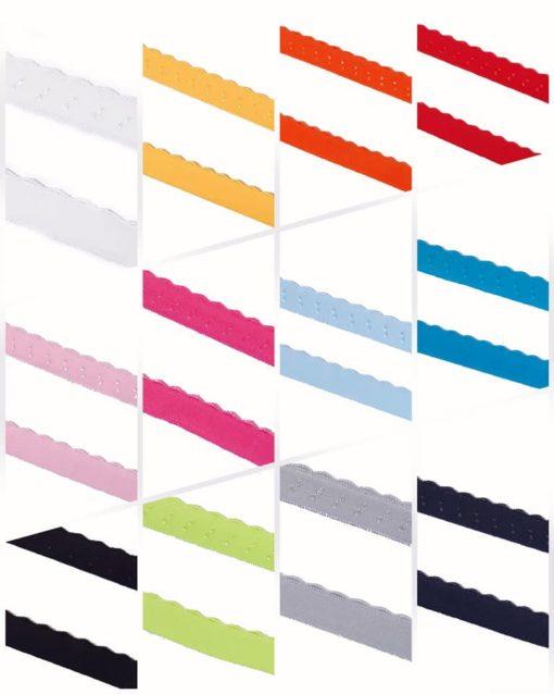 Gummiband mit Bogenkante in verschiedenen Farben