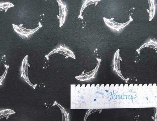 Stoff mit Delfinen Lineal waagerecht