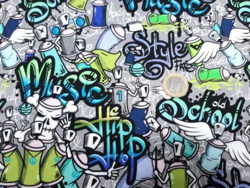 Jersey Stoff Graffiti Detail