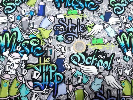 Jersey Stoff Graffiti Größenvergleich Euro