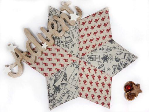 weihnachtlicher Patchworkstern im skandinavischen Stil