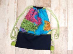 Rucksack aus Baumwollstoff Weltkarte