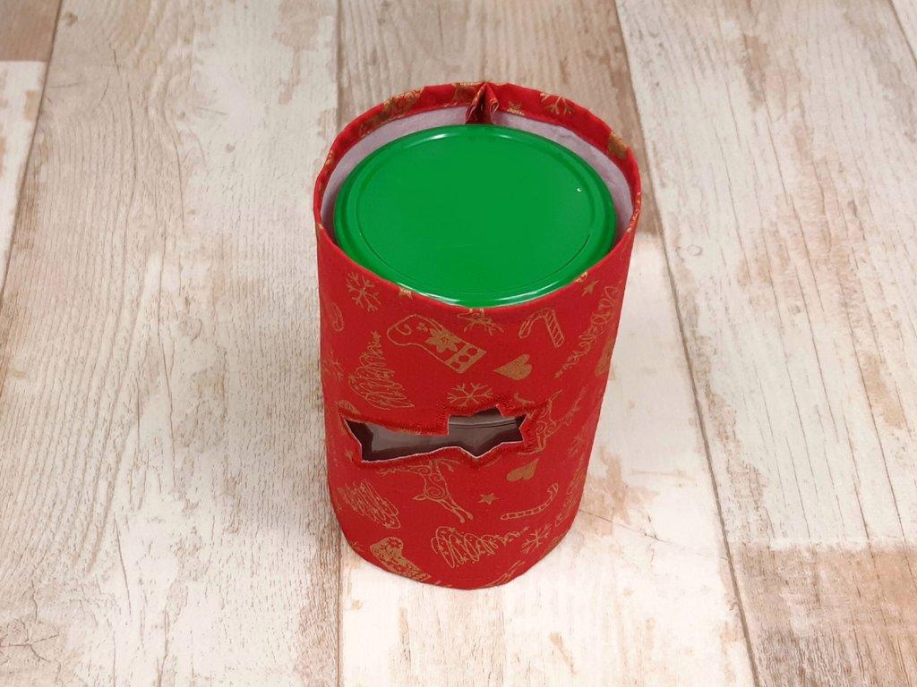 weihnachtliches windlicht oder plätzchenglas fertig genäht, nähen mit kindern idee