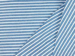 SanDaLu blau melierter Ringelstoff Jersey Falten