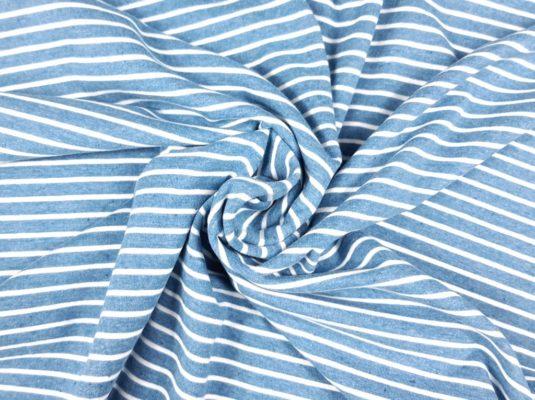 SanDaLu blau melierter Ringelstoff Jersey
