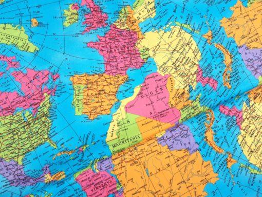 Baumwollstoff mit Weltkarte SanDaLu Ballen