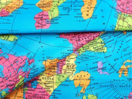 Baumwollstoff mit Weltkarte SanDaLu Falten