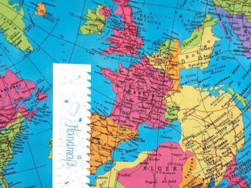 Baumwollstoff mit Weltkarte SanDaLu Lineal
