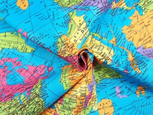 Baumwollstoff mit Weltkarte SanDaLu Strudel