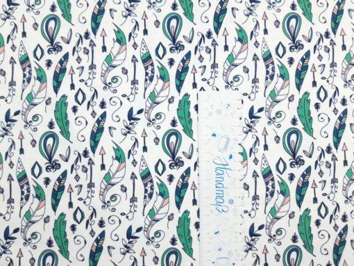 Jersey Stoff mit Federn blau altgrün Lineal senkrecht