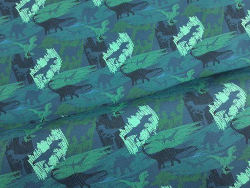 SanDaLu Jersey Meterware Dinosaurier