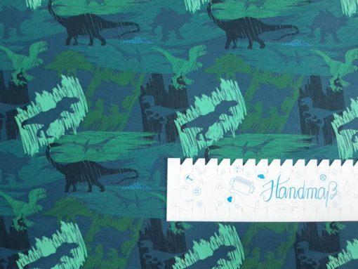 SanDaLu Jersey Meterware Dinosaurier Lineal waagerecht