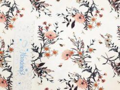 SanDaLu Meterware kaufen creme Blumen Lineal senkrecht