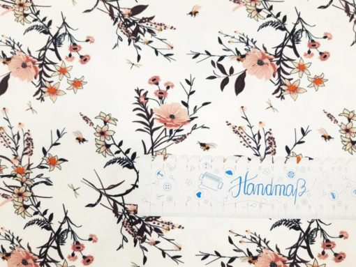 SanDaLu Meterware kaufen creme Blumen Lineal waagerecht