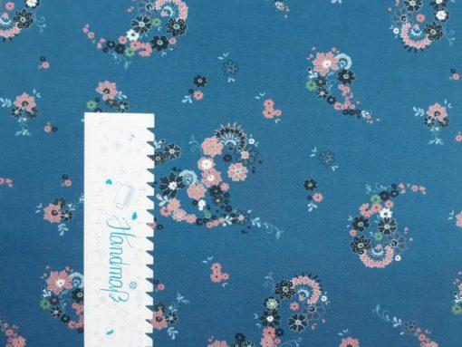SanDaLu Blumenstoff blau Lineal senkrecht